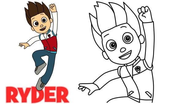 how to draw Ryder paw patrol character